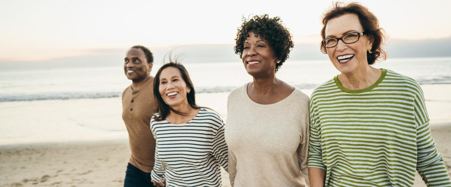 supplements for menopausal women: happy older women on the beach