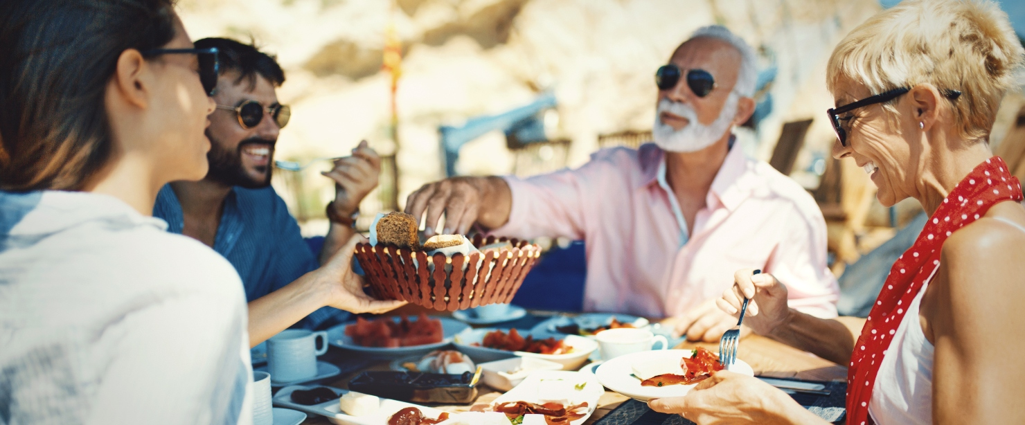 nutrition for longevity: family eating together outside